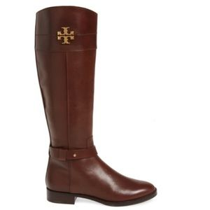 Tory Burch Everly Riding Calf Leather Boots Brown